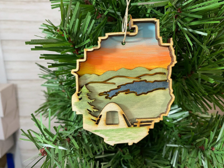 Adirondack Park with Tent Ornament
