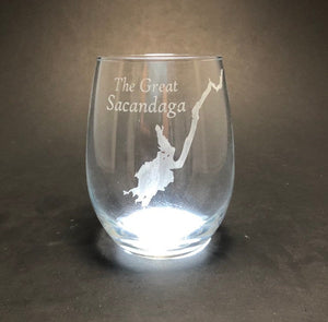 Create My Lake Stemless Wine Glass