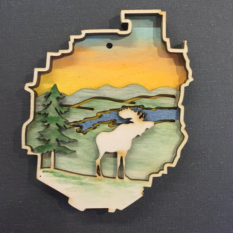 Adirondack Park with Moose Ornament