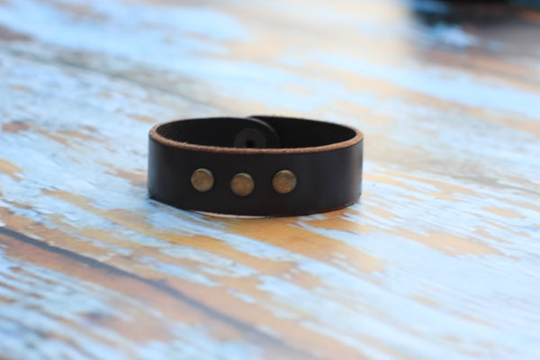 Leather Bracelet With Antique Brass