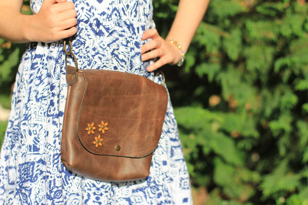 Handmade Leather Messenger Bag / Clutch Bag -  For Her