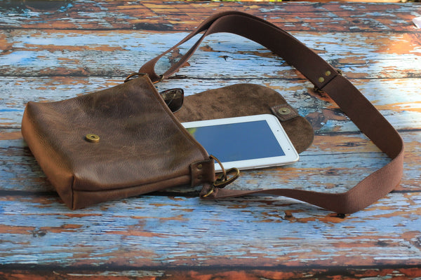 Handmade Leather Messenger Bag - For Him or Her