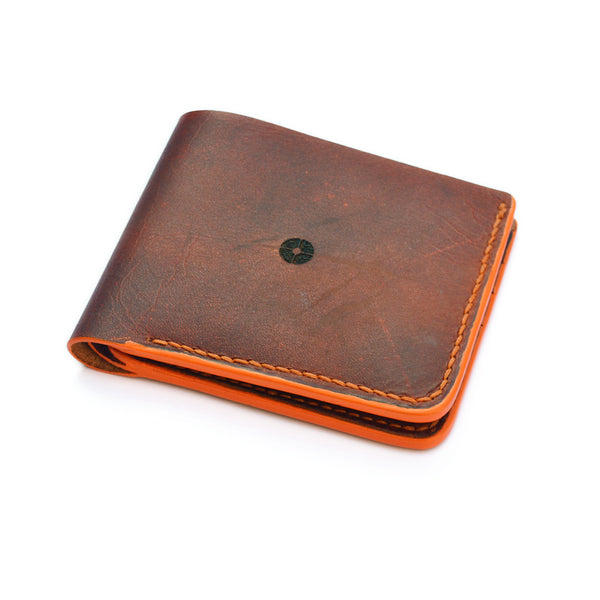 Handmade Leather Bi Fold Wallet with Coin Holder