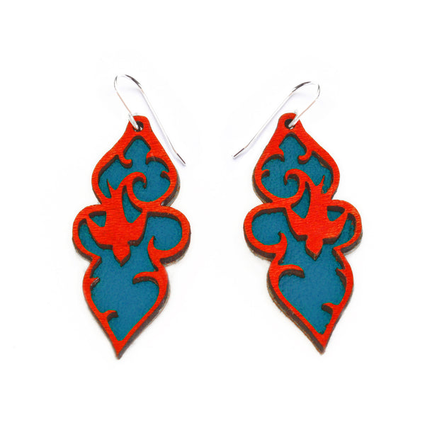 Leather Earrings - Dangly swallow