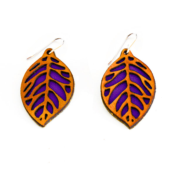 Leather Earrings - Dangly Leaf