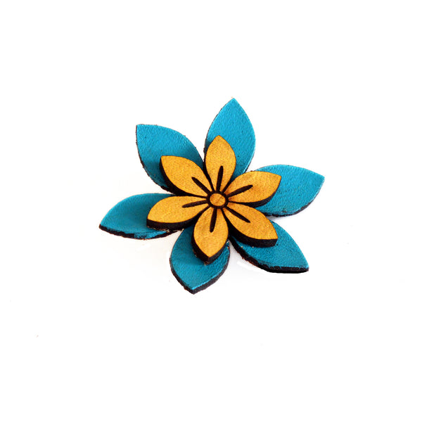 Leather Flower Brooch with Petals