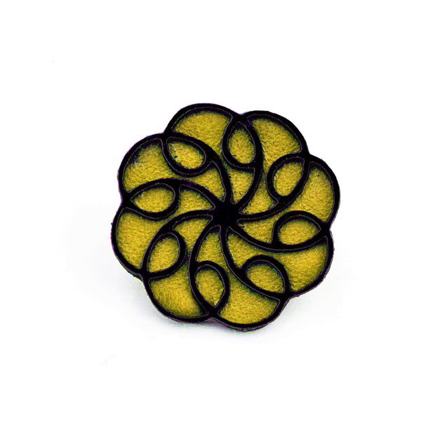 Leather swirly Brooch
