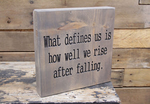 What defines us is how well we rise after falling