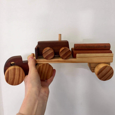Handmade Wooden Vehicle | Semi Trailer Truck with Bulldozer & Logs