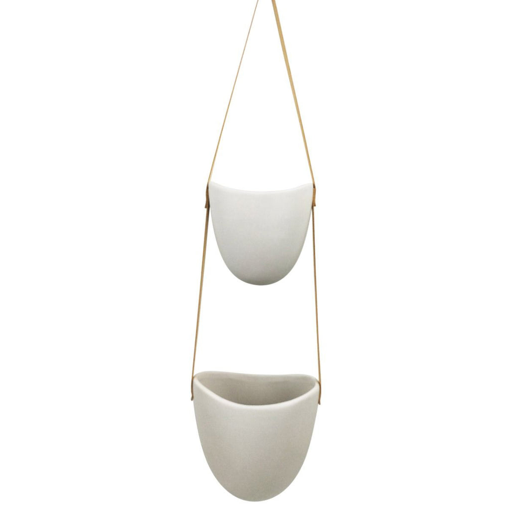 Planter - Hanging | White Friday Double | Ceramic
