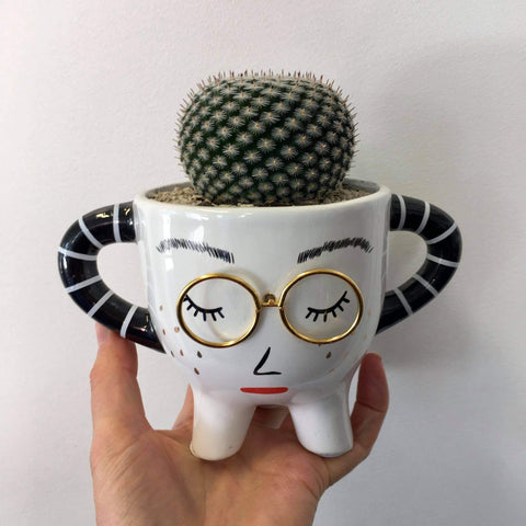 Planter with Live Cactus | Lady Penny | Ceramic
