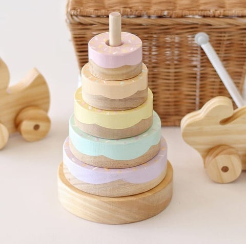 Wooden Donut Stacker | Pastel Rainbow