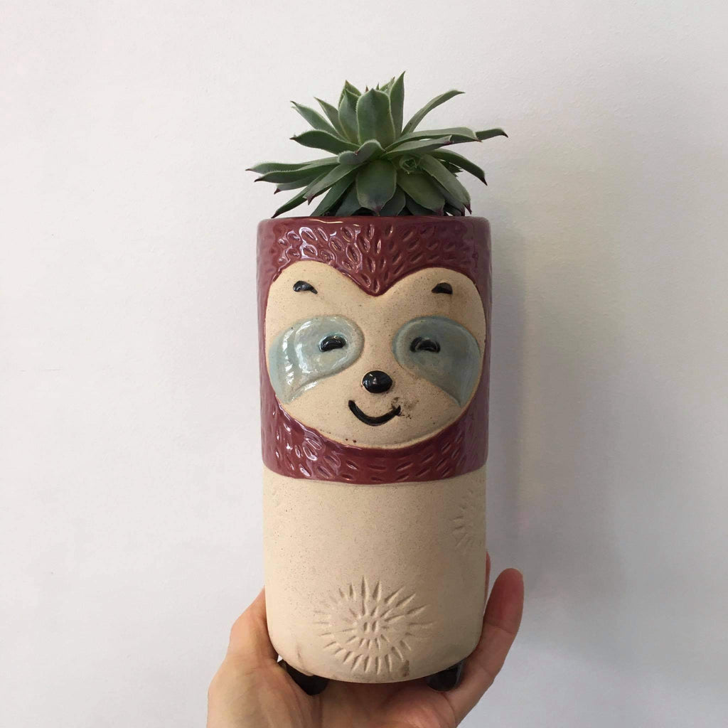 Planter with Live Succulent | Tall Sloth #2 | Ceramic