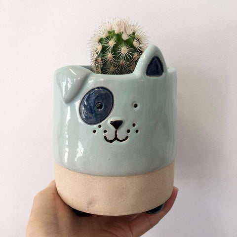 Planter with Live Cactus | Puppy #2 | Ceramic