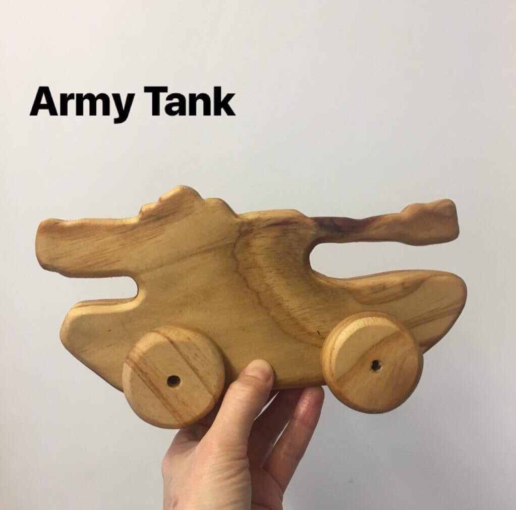 Wooden NZ Pine Vehicles | Handmade | Army Tank