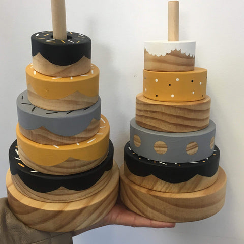 Wooden Donut Stacker | Mustard | 2 designs
