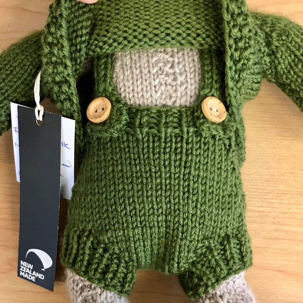 Frankie Folk | NZ Hand Knitted | Oatmeal with Removable Moss Green Clothing