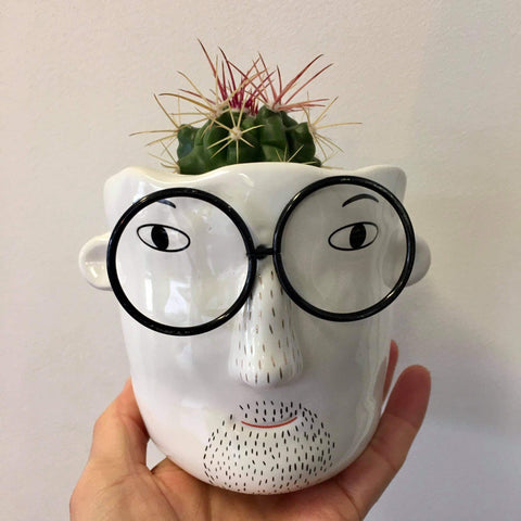 Planter with Live Cactus | Archer - Black Glasses | Ceramic