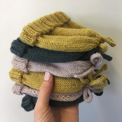 Hand Knitted Bow Hats | NZ Merino | 3 colours