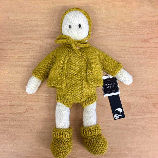 Frankie Folk | NZ Hand Knitted | Cream with Removable Mustard Clothing