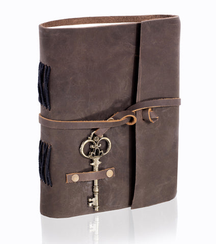 Handcrafted Leather Journal | Key Belt Wrap | Brown