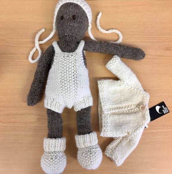 Frankie Folk | NZ Hand Knitted | Brown with Removable Cream Clothing