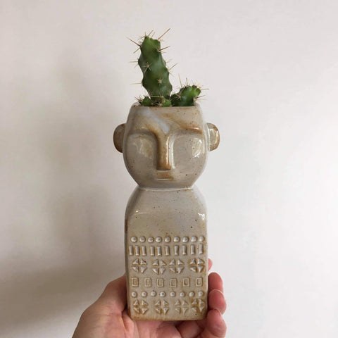 Sahara Man Planter with Live Cactus #1 | Ceramic