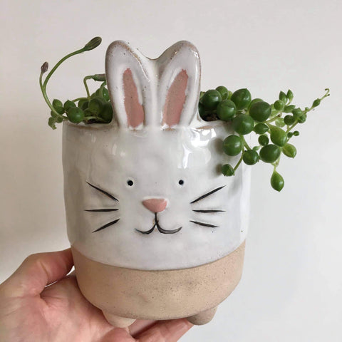 Planter with Live String of Pearls | Bunny #2 | Ceramic