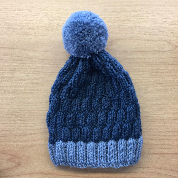 Pom Pom Beanie | NZ Wool | Handmade | Denim Blue & Wedgewood Blue