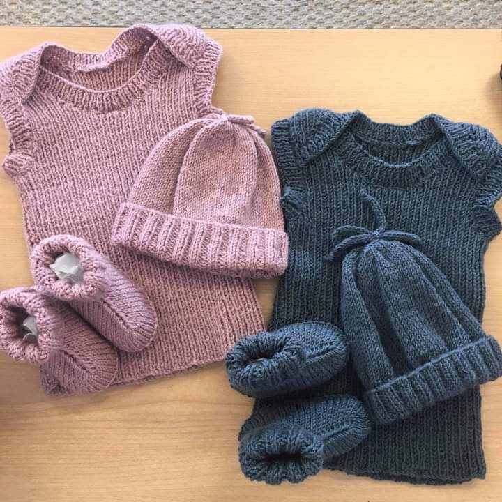 Layette 3 Piece Set | Hand Knitted | 100% Merino Wool | 2 Colours