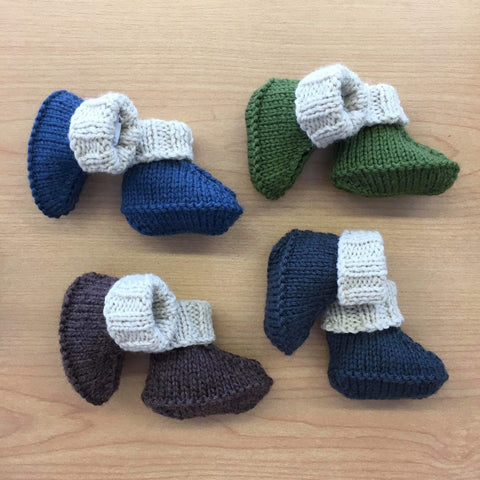 Ugg Booties | 100% NZ Wool | Hand Knitted | Two tone
