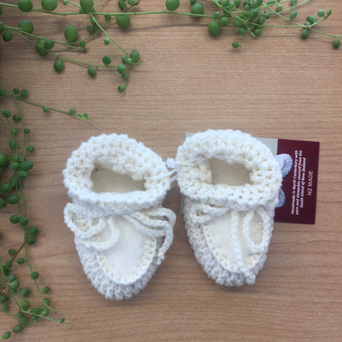 Merino/Sheepskin Booties | Handmade | Cream | 0-6mths