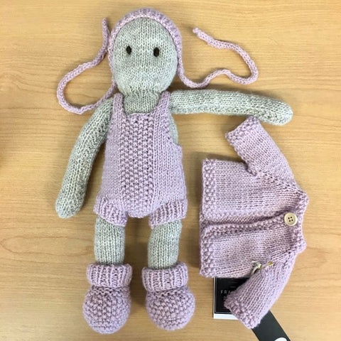 Frankie Folk | NZ Hand Knitted | Oatmeal with Removable Pink Clothing