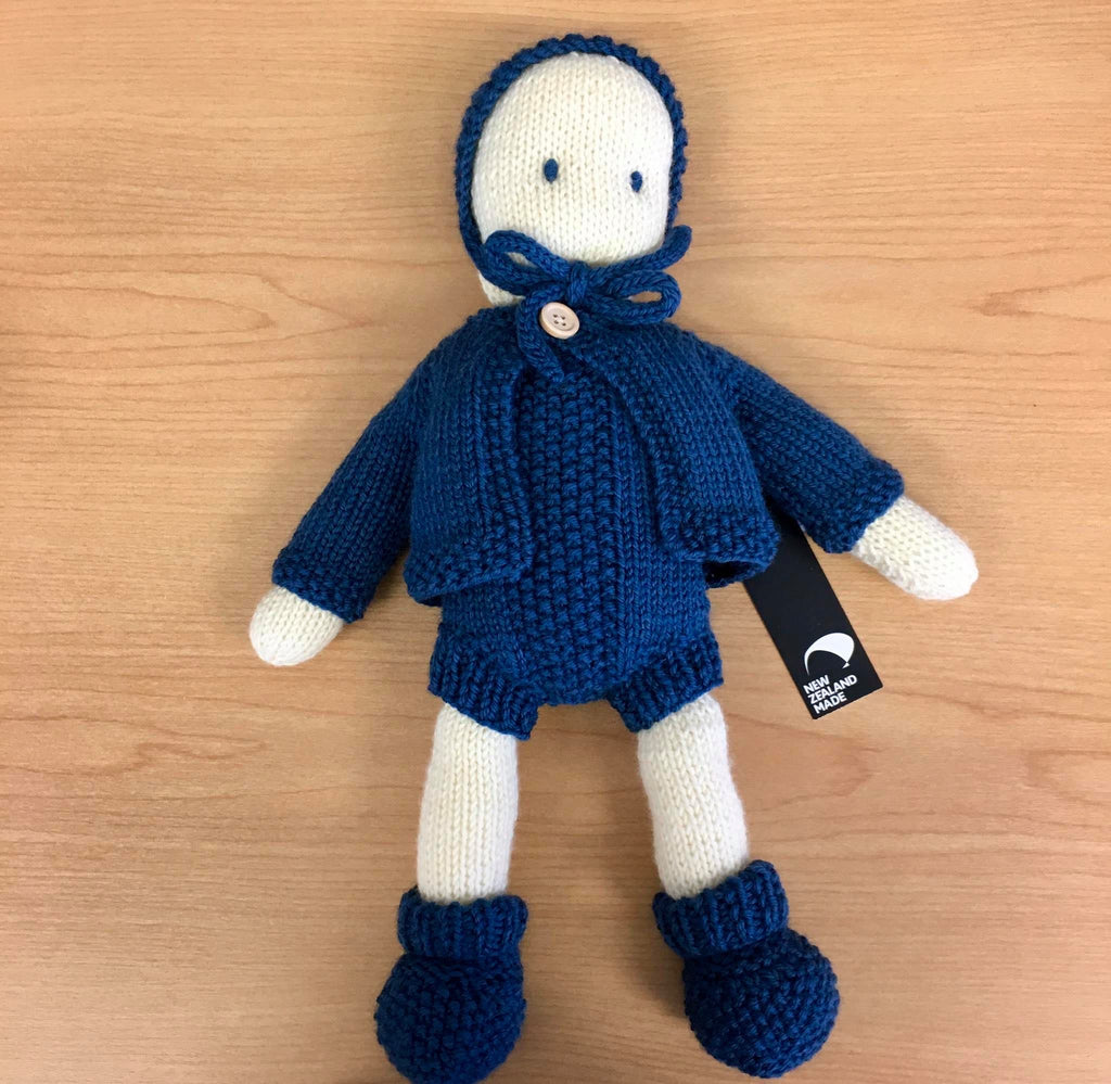 Frankie Folk | NZ Hand Knitted | Cream with Removable Blue Clothing