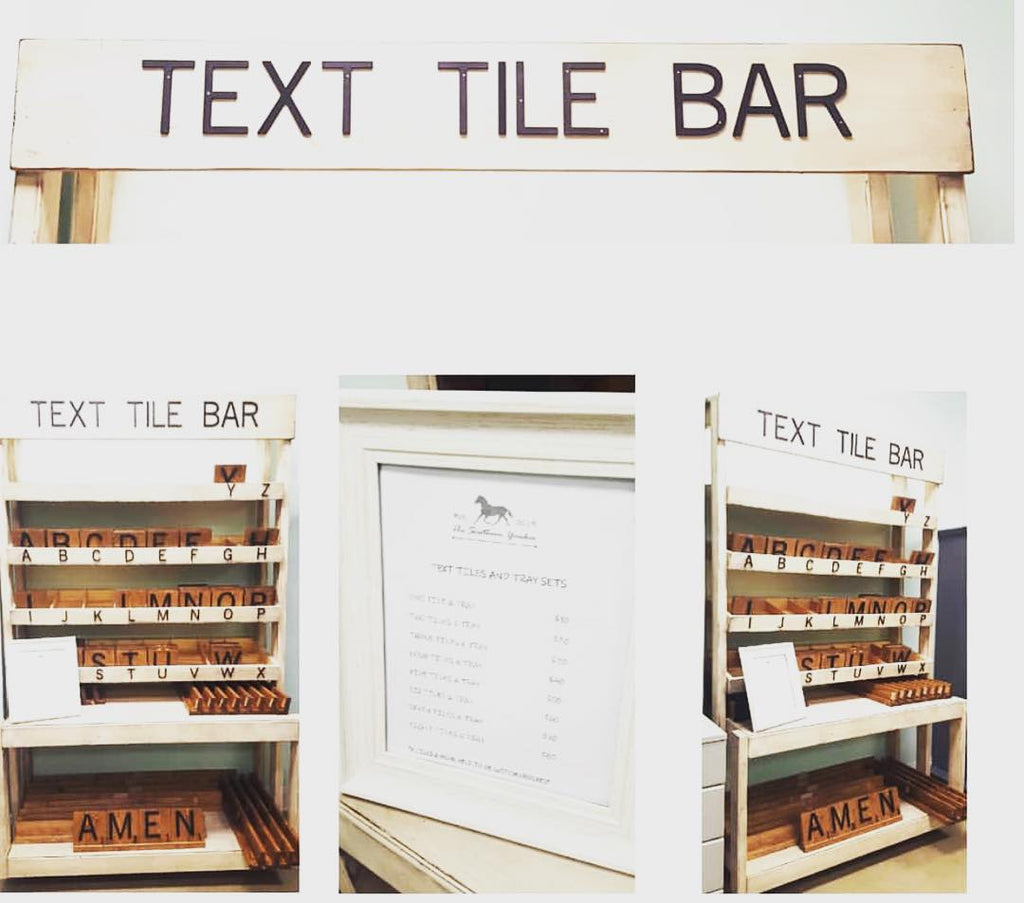 The Text Tile Bar at Three Little Birds Market to mix and match large scrabble board letters and make your family word!