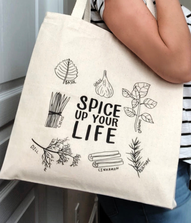 Spice Up Your Life Canvas Tote Reusable Shopping Bag by Munga Vision