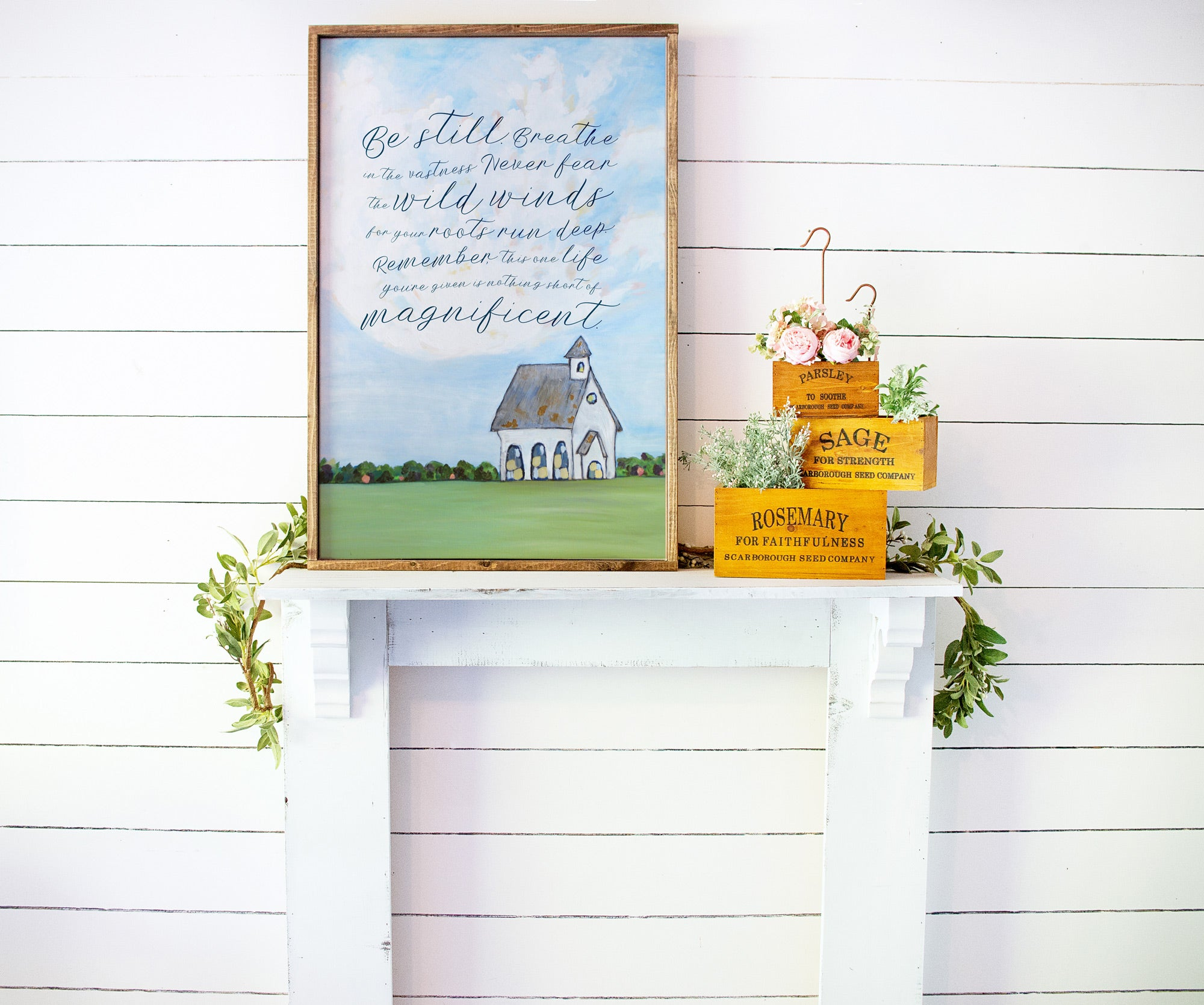 Be Still. Life is Magnificent Mockup Farmhouse Painting shot of a church in the country