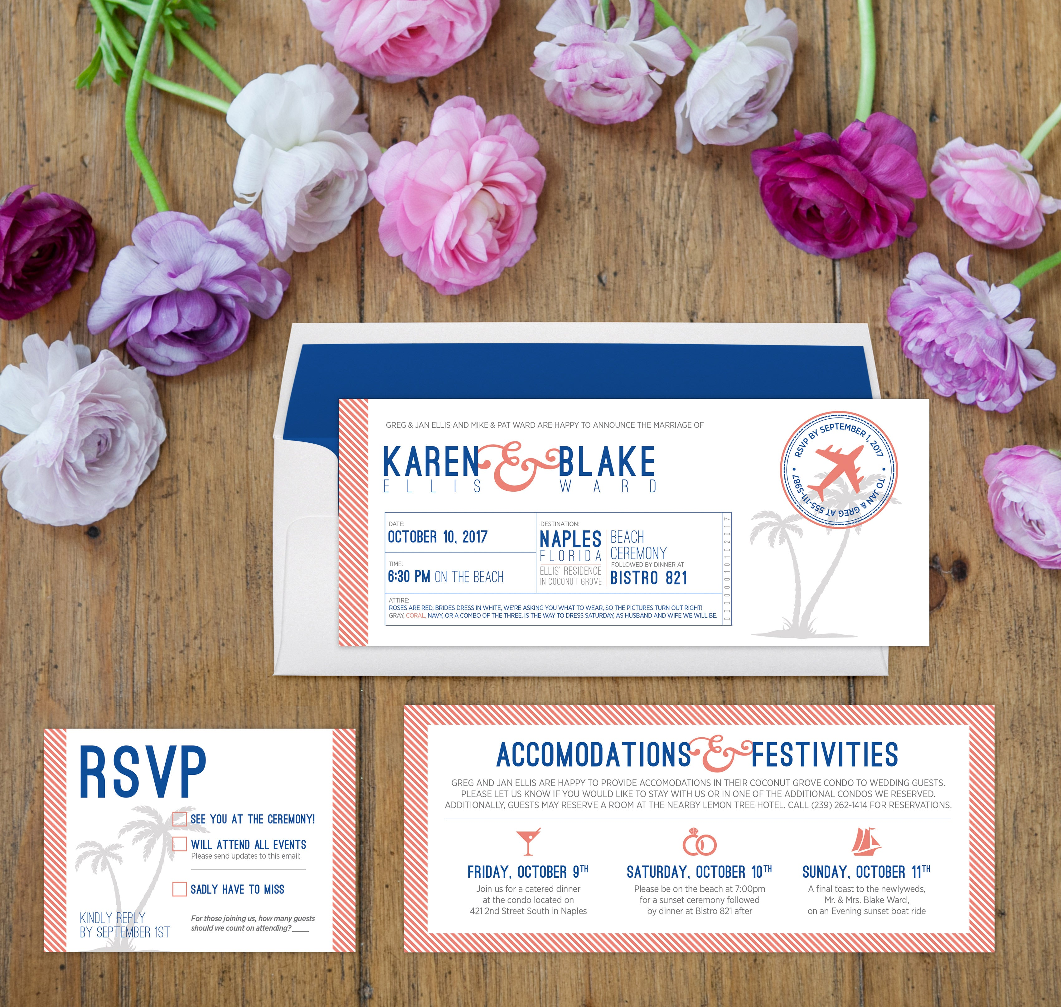 Airline ticket wedding invitations for destination wedding by Munga Vision