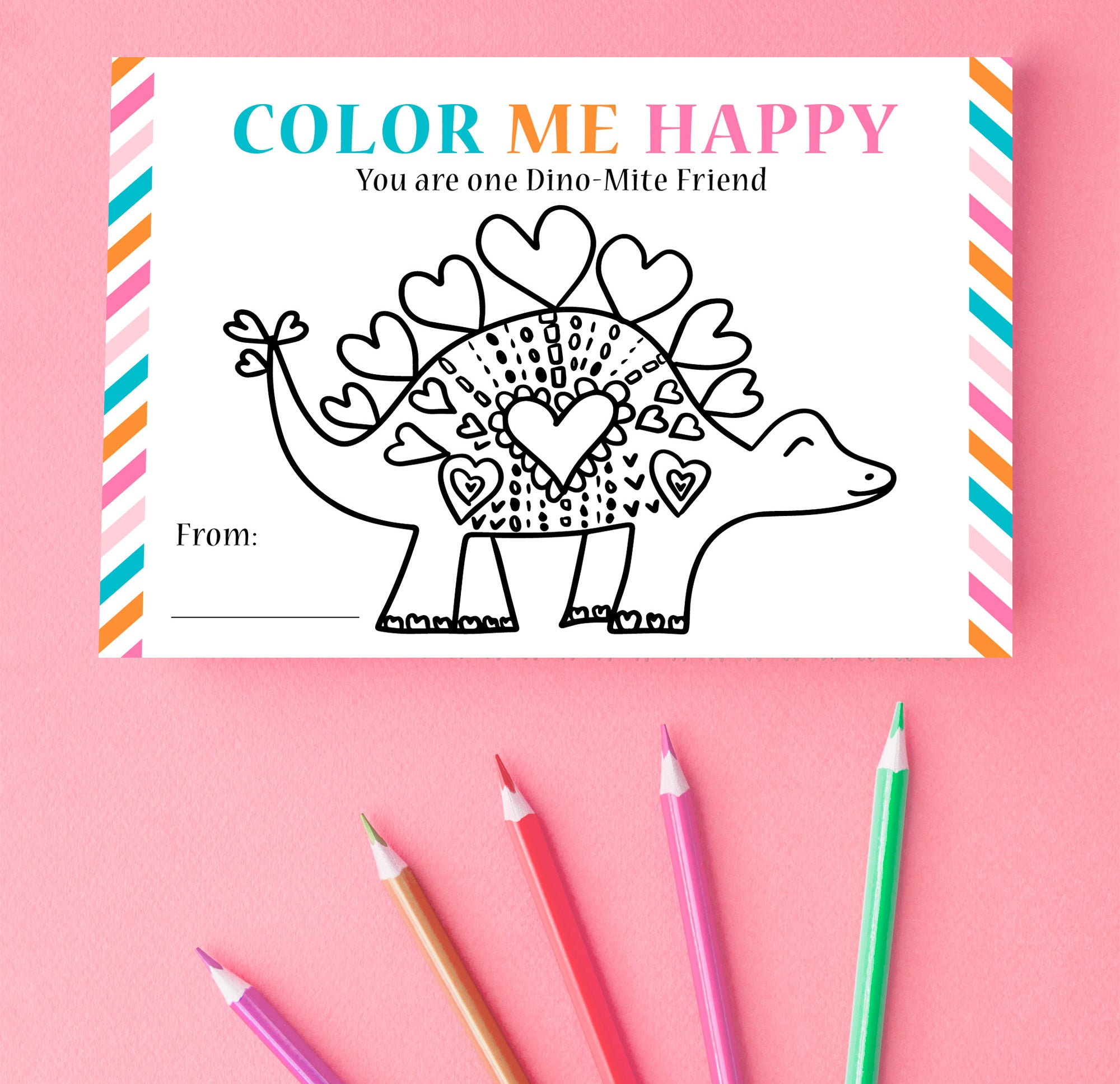 Free printable coloring valentine for kids classroom party