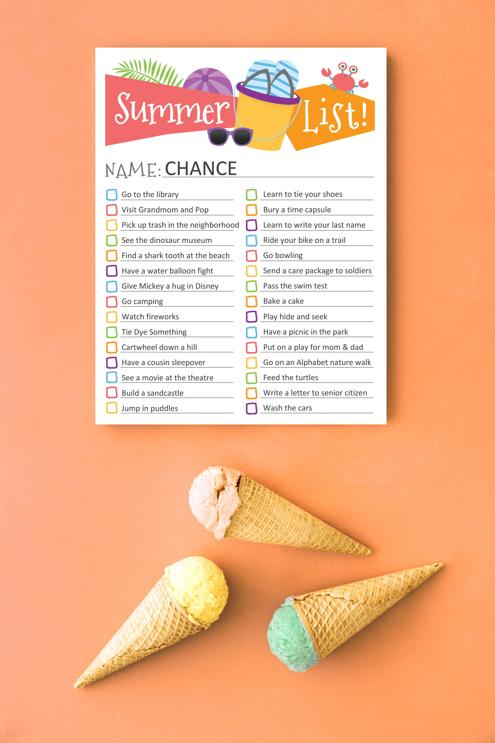 Free printable summer bucket list for you to download and customize