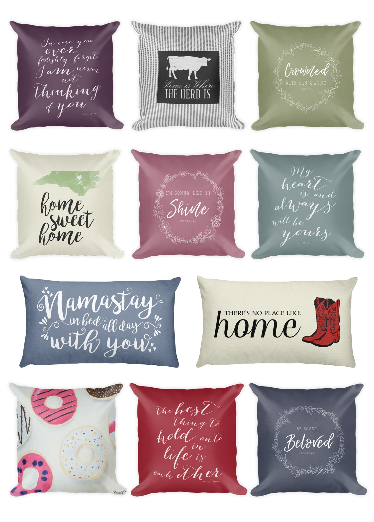 Favorite Quote Throw Pillows by Munga Vision | Fun Pillow Accents with your Favorite Sayings