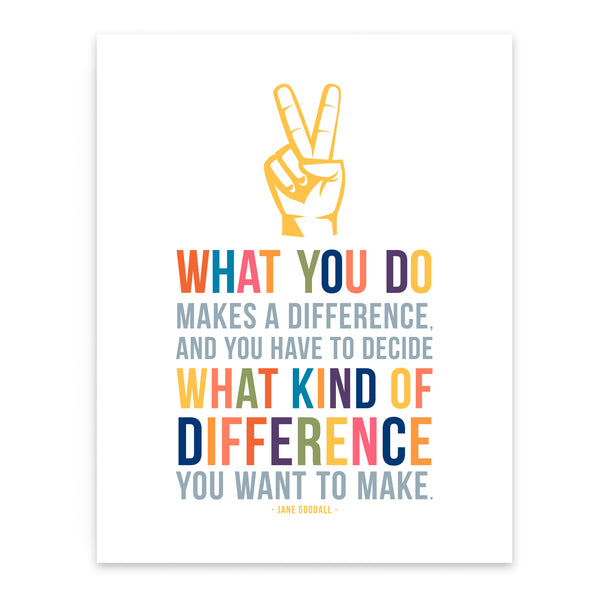 Jane Goodall quote on difference as colorful inspirational wall decor for kids room