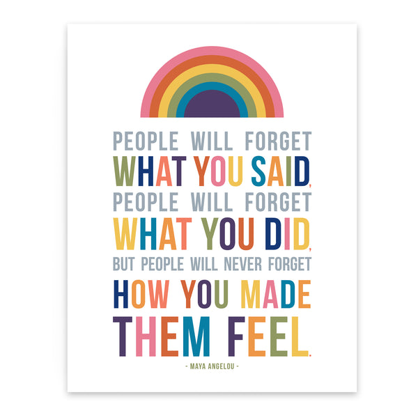 Maya Angelou Quote Art Print for Kids Room Wall Decor with Rainbow
