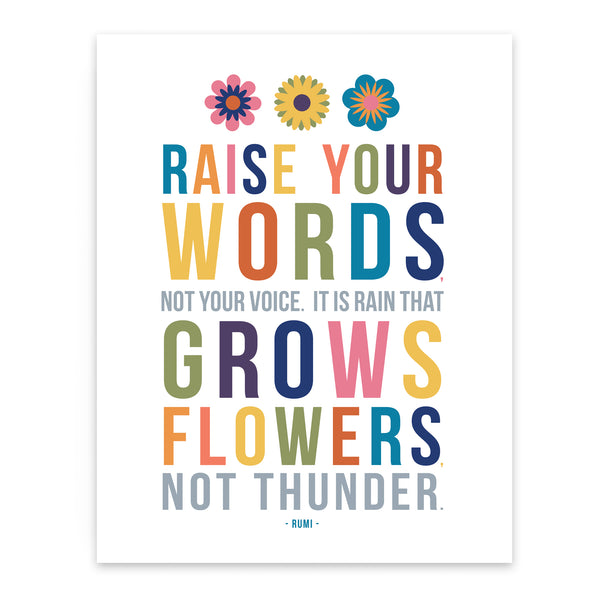 Raise your words art print for Kids room wall decor with Inspirational Rumi Quote