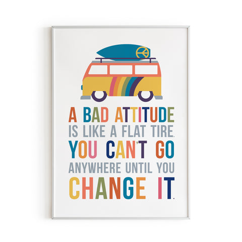 A bad attitude is like a flat tire hippie wall decor with surfboard and volkswagen bus art