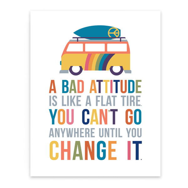 Bad attitude quote in colorful art print for kids room decor featuring surfboard