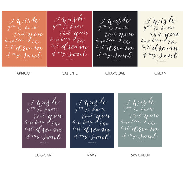 Charles Dickens Typography Art with Custom Color Options by Munga Vision