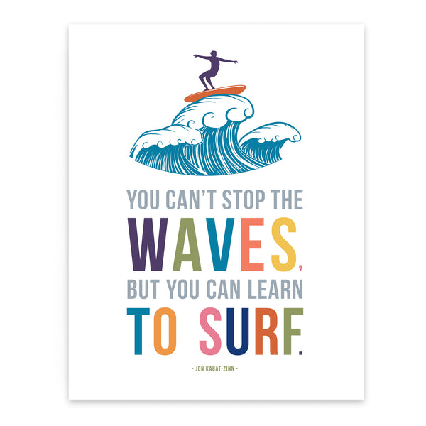 Fun Surf Art Print for Kids Room Decor with Inspirational Quote