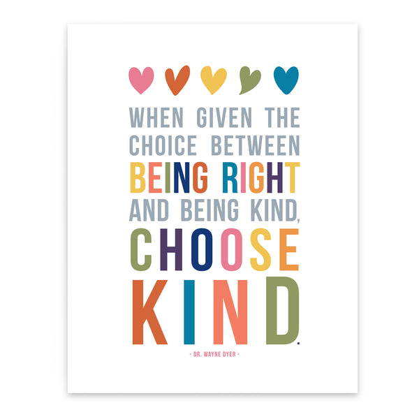 Choose Kind Quote Art Print for Kids Room