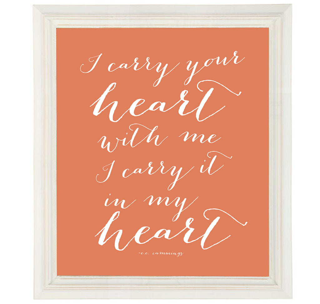 Ee Cummings Love Quote I Carry Your Heart Print Romantic Wall